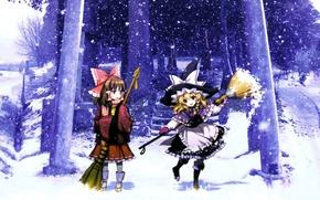 Picture winter, hat, ladder, broom, snowfall, touhou, art, an2a, Hakurei Reimu, Touhou Project, Marisa Kirisame, torii …