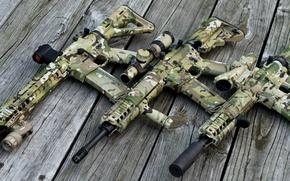 Picture wood, scope, AR 15, Assault rifle, multicam