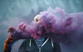 Picture background, smoke, people