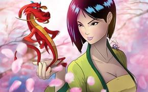 Wallpaper dragon, disney, girl, Princess, beauty, mulan