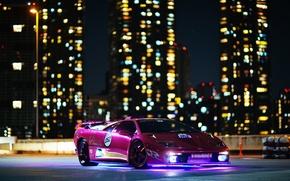 Picture night, lights, building, Lamborghini, Diablo, Diablo, lamborghi