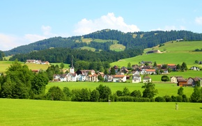 Picture hills, field, home, Switzerland, forest, Sankt Gallen