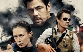 Wallpaper Benicio del Toro, agent, Sicario, Matt Graver, cia, helicopter, rifle, Emily Blunt, Josh Brolin, Mexico, ...