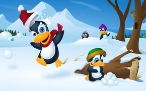 Picture winter, snow, trees, cartoon, vector, penguins, snowballs