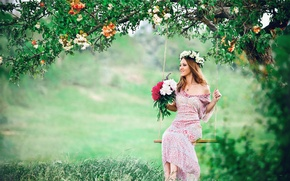 Picture GIRL, LOOK, NATURE, TREE, GRASS, GREENS, DRESS, FLOWERS, BROWN hair, GLADE, BOUQUET, JOY, VEGETATION, BEAUTY, ...