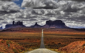 Picture mountains, desert, Road