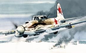 Picture aircraft, war, art, airplane, painting, ww2, Ilyushin Il-2, IL-2 Sturmovik, IT 2 M, russian bomber …