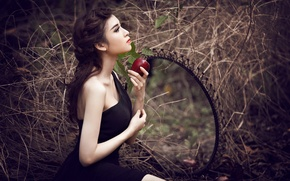 Picture Apple, mirror, Model, Miki Nguyen