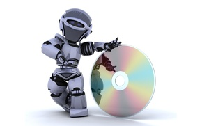 Picture white, Robot, blue, background, hi-tech, funny, rendering, cute, technology