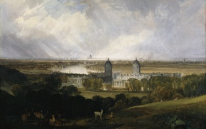 Picture animals, trees, landscape, Park, castle, picture, William Turner, London from Greenwich Park