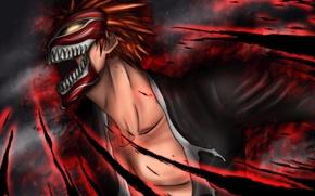 Picture fire, magic, mask, guy, Bleach, Bleach, Kurosaki Ichigo, art, Gray-Fullbuster