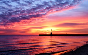 Picture beauty, reflection, shore, beach, sand, sea, water, lighthouse, the sky, Shine, landscape, sunset
