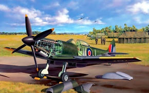 Picture the plane, fighter, art, the airfield, English, BBC, pilots, Spitfire, given, scout, interceptor, Supermarine, WW2., …