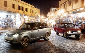 Picture night, background, Land Rover, Range Rover, market, the front, old and new, Land Rover, Range …