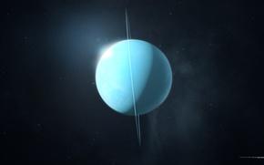 Picture space, stars, rendering, planet, ring, uranium