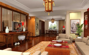 Picture style, table, room, sofa, chairs, TV, chairs, table, design, Chinese, chandeliers.