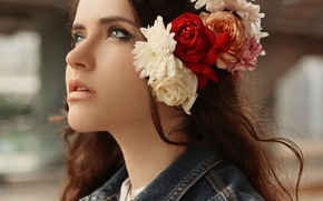 Picture look, girl, flowers, face, beauty