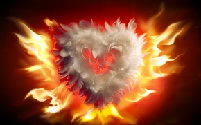 Wallpaper love, fire, flame, heart, fire, love, heart, flames, Valentines Day