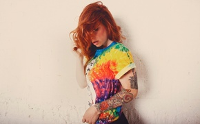 Picture wall, model, tattoo, red, colorful, Hattie Watson