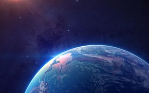 Picture space, earth, landscape, star, planet