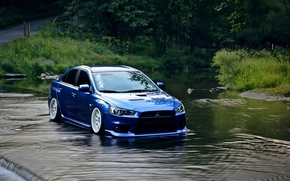 Picture water, blue, Mitsubishi, lancer, evo