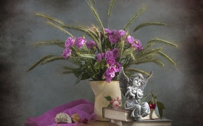 Picture cherry, roses, angel, shell, spikelets, figurine