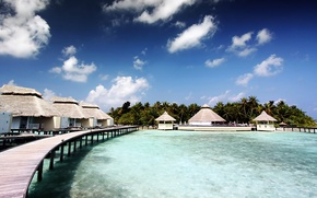 Picture the sky, clouds, palm trees, island, the Maldives, the hotel, Tea Reef, Allido, allido