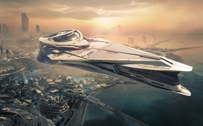 Picture the city, future, view, spaceship