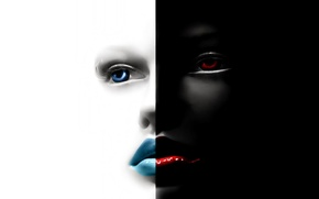 Picture eyes, face, contrast, lips