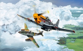 Picture war, art, airplane, american, painting, aviation, jet, german, ww2, P-51 Mustang, Me 262, dogfight