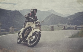 Picture road, the sky, clouds, mountains, valley, motorcycle, male