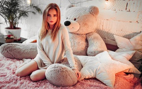 Picture flower, girl, Palma, room, toy, bed, pillow, bear, blonde, pot, tunic, Ivan Gorokhov, Polina Grents