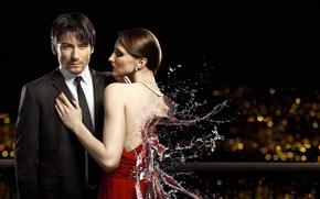 Picture water, girl, squirt, guy, Lyubomir Sergeev