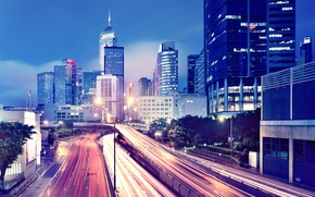 Picture the city, lights, movement, Wallpaper, building, road, Hong Kong, skyscrapers, the evening, megapolis, wallpapers, Hong ...
