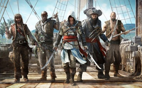 Picture pirates, ship, hood, Edward Kenway, Assassin's Creed IV: Black Flag, Edward Kenway, assassin, Ubisoft, swords, ...