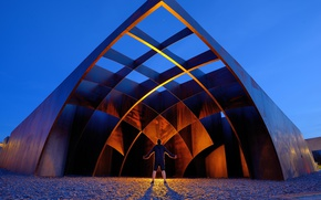 Picture lights, art, Building, person, metal structure