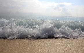 Picture sea, the sky, foam, clouds, wave