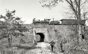 Picture landscape, bike, retro, people, the engine, the car, USA, the tunnel, 1908-the year