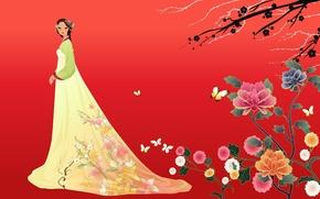 Picture girl, flowers, butterfly, art, Asian, hanbok