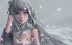 Picture girl, smile, anime, petals, art, emilia, re zero kara hajime chip isek or seikatsu, void …
