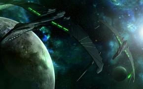 Picture space, planet, stars, predators in green