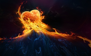 Picture fire, heart, feelings, hands