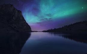 Picture the sky, night, nature, lake, Switzerland, Lake Bannalp
