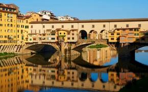 Picture bridge, river, home, Italy, Florence, Old Bridge, Firenze, Arno