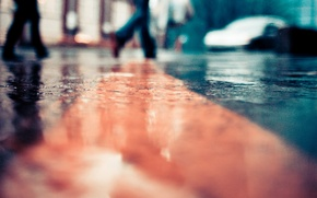 Picture road, the city, rain, street, puddles, rainy day