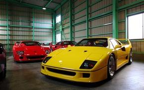 Picture garage, hangar, Ferrari, F40, supercars