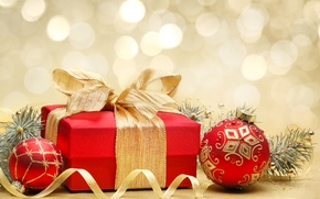 Wallpaper New Year, box, gift, toys, New Year, Christmas, bow, patterns, the scenery, balls, holidays, Christmas, ...