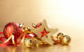 Picture balls, gold, holiday, toys, star, New Year, Christmas, serpentine, Christmas