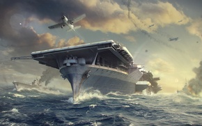 Picture The sky, Water, Clouds, Wave, Smoke, Aircraft, Ship, Ships, Flame, The carrier, Wargaming Net, WoWS, ...