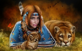 Wallpaper Indian, girl, Cougar, Puma, cub